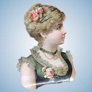Beautiful Victorian Lady Die Cut Doll Display French Fashion