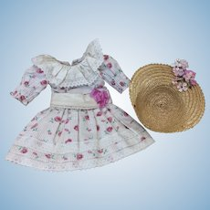 Lovely Dress & Bonnet for Cabinet Size Doll