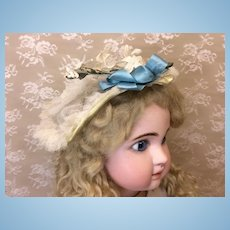 Lovely Vintage Wired Tulle Bonnet for Antique Doll