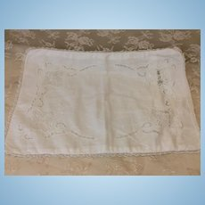 Beautiful Early Hand Made Baby Pillow Case For Dolls