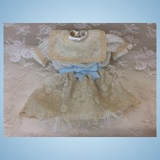 """10-12"""" Doll Seamstress Made Lace Dress French Bisque Doll"""
