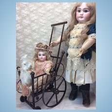 Antique Wooden and Rattan Doll Stroller