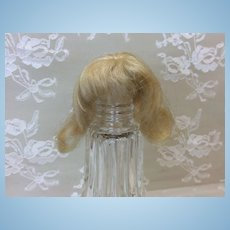 """Tiny Antique 3"""" Mohair Wig All Bisque Mignonette Doll House"""