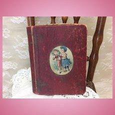 Unusual Small Antique Litho Box Book Nursery Rhyme Doll Display