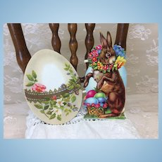 Two Vintage Easter Diecuts Doll Display