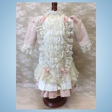 Pink and Cream Seamstress Made Dress Fully Lined Antique Doll