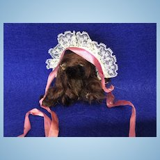 """Small Vintage Mohair Wig and Bonnet 3-4"""" Head All Bisque or Mignonette"""