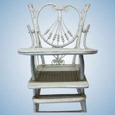 Beautiful Antique Victorian Wicker Rattan Doll High Chair