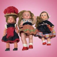 """Three Cute Doll House Dolls 3-4"""""""
