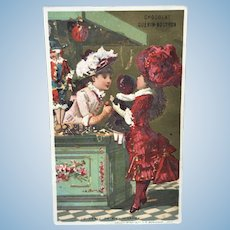 Little Girls w/ Doll French Card Antique