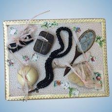 Antique French Doll Accessory Card Powder Puff Soap Mirror