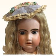 Antique Silk & Lace hat for Large Bisque Doll