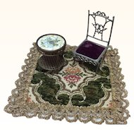 Beautiful Vintage Doll House rug for Bisque Doll Display