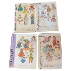"""Lot of 4 1960's Doll Sewing Patterns Tiny Tears Saucy Walker 14""""-23"""" Dolls"""