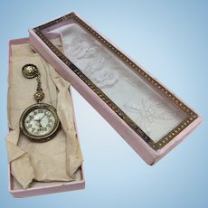 Rare Antique Original Glass Topped Box W/Faux Watch Bebe French Fashion Bisque Doll