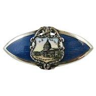 Vintage Enamel Sterling Silver Brooch Blue Guilloche Washington Souvenir Superb Quality
