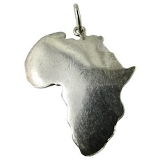 Vintage Sterling Silver Large Charm of Map Outline of Africa