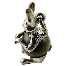 Vintage Sterling Silver NUVO Touch Wood Wud Charm Rabbit Bunny Hare with Timber Tummy English Lucky! 1960s