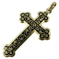 Art Nouveau French Cross Taille d'épargne Black Enamel on Gold Fill