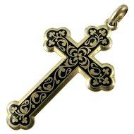 Art Nouveau French Cross Taille d'épargne Black Enamel on Gold Fill