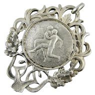 Vintage 1920s French Continental Silver Sporting Medal Pendant Fob - Art Nouveau Decoration