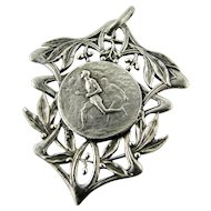 Vintage 1920s French Continental Silver Sporting Medal Pendant Fob Art Nouveau Decoration