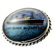 Vintage Sterling Silver Butterfly Wing Brooch  RMS Queen Elizabeth Cruise Liner