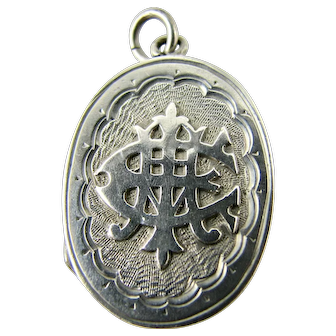 Antique Victorian Sterling Silver Small Locket or Large Charm - AEI - 'Amity, Eternity, Infinity'