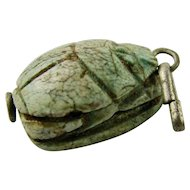 Vintage 1930s French Faience Carved Scarab Large Charm with Ancient Egyptian Hieroglyphics