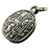 RARE Vintage Art Deco Continental Solid Silver Scarab Charm Detailed Ancient Egyptian Hieroglyphics