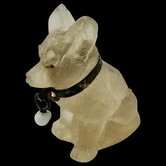 RARE Charm Art Deco 1920s Czech Moulded Glass Pale Yellow Dog Cracker Original Brass Collar