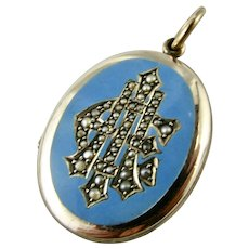 Antique Victorian Enamel Pearl Gold Filled Medium Locket - AEI - 'Amity, Eternity, Infinity'