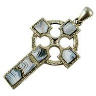 Antique Cross Victorian Scottish Sterling Silver Blue Montrose Agate