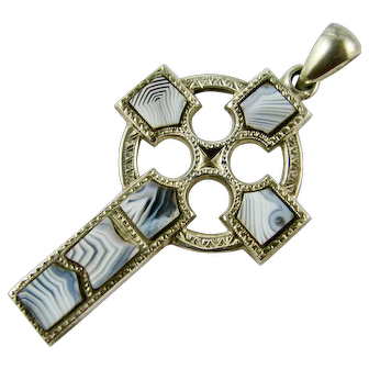 Antique Cross Victorian Scottish Sterling Silver Blue Montrose Agate