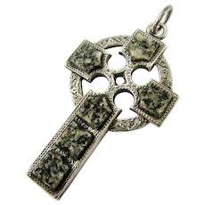 Antique Cross Victorian Scottish Sterling Silver Aberdeen Granite