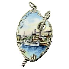 Antique 800 Silver Enamel Charm of Split Croatia Yugoslavia - Artist Palette Souvenir Victorian