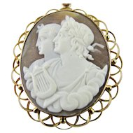 Very Fine Antique Cameo Pendant 9k Rose Gold Hand Carved Shell - Erato Muse of Love Poetry