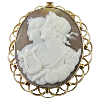 Very Fine Antique Cameo Pendant 9k Rose Gold Hand Carved Shell - Classical Apollo & Diana