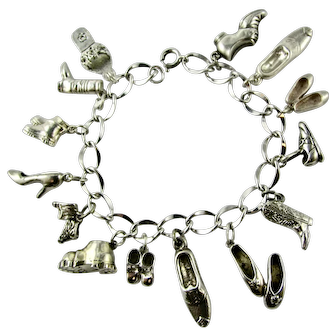 Vintage Collection 14 Charms Bracelet  - Shoes Boots Sandals - Sterling Silver  VGC