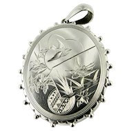 Victorian 'Aesthetic Era' Sterling Silver Hand Engraved Locket