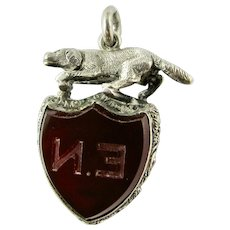 RARE Antique Victorian Sterling Silver Hunting Dog Fob Stone Set Pendant