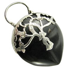 Rare Antique Georgian Padlock Large Pendant Puffy Shaped Heart of Horn Pique & Sterling Silver Mounting