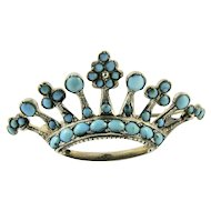 Antique Victorian Pave Set Turquoise Crown Tiara Shaped Brooch Pin Continental 800 Silver