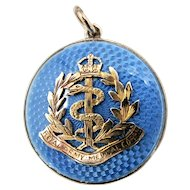 Antique Edwardian Military Gold-fill & Blue Guilloche Enamel Photo Locket - Royal Army Medical Corps Badge