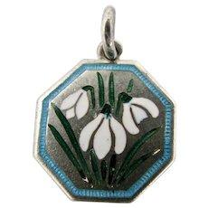 RARE TLM Charm Snowdrop Flowers Thomas L. Mott Vintage Enamel Sterling Silver