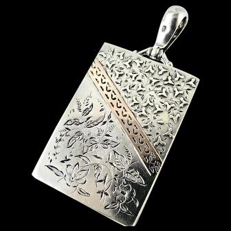 Antique Victorian Locket 'Aesthetic Era' Oblong Sterling Silver & Gold HM 1882