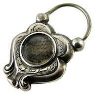 RARE Victorian Era Padlock Clasp Mourning Hair Sterling Silver