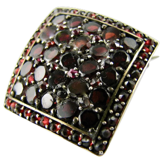 Antique Art Deco Era Garnet Brooch Gilded Continental Silver -  Pave Set Square Pin