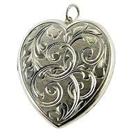 LARGE Vintage Victorian Style Sterling Silver Etched Heart Locket - Sentimental Love Token - Hallmarked 1967