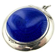 ART DECO 1938 Sterling Silver & blue Guilloche enamel 'poudrier' powder compact locket chatelaine - English Hallmarked
